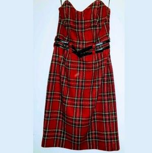 Betsey Johnson plaid strapless wool dress